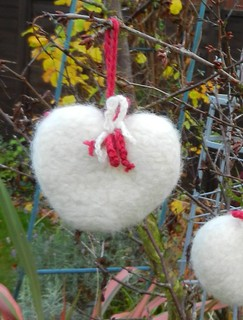 Hanging Felted Heart 001
