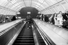 Escalator (Richard Reader (luciferscage)) Tags: people bw london up station stairs underground mono escalator tube steps down londonunderground liverpoolstreet 2012 tfl richardreader fujifilmx100