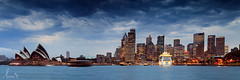 Sydney Opera House and Sydney Skyline (sachman75) Tags: longexposure sunset architecture clouds buildings t dusk pano panoramic cbd operahouse 250 sydneyskyline sydneycity makroplanar leefilters canon5dmarkii ndgrad4stops zeiss50mmmakroplanarf2