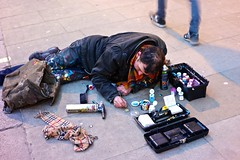 Ben Wilson aka 'Chewing gum man' at work (hethelred) Tags: street leica art gum painting graffiti ben outsider pavement piccadilly bubble wilson alternative m9 chewinggumman arttist