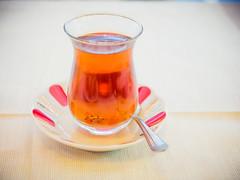 Turkish tea (miemo) Tags: travel autumn hot fall glass asia europe tea drink plate spoon istanbul turkishtea