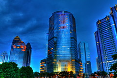 In Time (sightmybyblinded) Tags: blue sky urban cloud color skyscraper canon lens landscape cityscape time scene hour lumiere processing editing mm 1855 hdr intime
