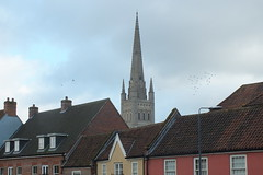 Roof tops in Norwich (Moldovia) Tags: city uk greatbritain england architecture europe unitedkingdom outdoor norfolk eu spire roofs norwich gb europeanunion eastanglia bridgecamera fujifilmfinepixhs20exr