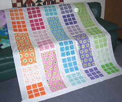 Daybreak quilt-top finished (...dotty...) Tags: daisies squares moda goodmorning daybreak quilttop machinepieced colorfulrainbow whitesashing memysisterdesigns