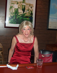 A Laura at Blue Point Grill (lwhitets) Tags: red dress satin