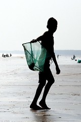 Hungry Shells....... (pallab seth) Tags: boy sea india industry beach silhouette kids children kid waves child basket candid poor feeder poultry exploitation lowtide collectors youngster orissa bengal collecting childlabour villagers bayofbengal digha traders calciumcarbonate limepaint middlemen brokenseashells governmentintervention uadaypur