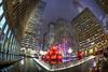 Decorating NYC (Tim Drivas) Tags: christmas newyorkcity newyork night manhattan rockefellercenter fisheye ornaments gothamist radiocitymusichall fountian hdr 6thavenue 49thstreet exxonbuilding 1251avenueoftheamericas