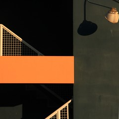 Stairs and the lamp... (Beeke...) Tags: shadow abstract black vancouver gray explore granvilleisland squarefacade archtectualdetail