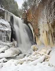 Winter at Miners Falls Pictured Rocks National Lakeshore (Michigan Nut) Tags: longexposure winter usa snow ice river waterfall midwest stream michigan icicles uppermichigan picturedrocksnationallakeshore minersfalls iceformations johnmccormick michigannutphotography nikon1635mmf4gedafsvrwideanglezoomlens