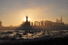 Byland Abbey at sunset (katie m.c) Tags: sunset ice abbey yorkshire byland