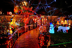 The Most Decorated House in Richmond BC (TOTORORO.RORO) Tags: christmas xmas city travel winter light house holiday canada reflection tree colors night vancouver reflections season lens lights snowman bc view candy display zoom britishcolumbia sony decoration richmond polarbear handheld santaclaus alpha dear frontyard hdr retractable hohoho oss nex greatervancouver mirrorless powerzoom 1650mm nex6 tyeechoice selp1650 tgam:photodesk=christmas2012