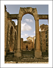 the roman city of dougga ... antonian or licinian bath (ana_lee_smith) Tags: africa city travel urban terrain history tourism archaeology stone museum architecture landscape temple photography site ancient arch village floor theatre roman tunisia plateau mosaic decorative stage capital north pillar masonry halls photojournalism unesco capitol national latin corinthian civilization column jupiter plains antonio minerva mythology pediment byzantine emperor juno colonnade settlement bardo polis excavation insitu fertile dougga pius dionysus epigraphy olivegroves publicbaths namidian analeesmith thougga sonyslta33 antonianbath licinianbath ouedkhalled douggaaljadida ulyssesthesirens nouvelledougga