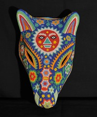 Huichol Beaded Coyote Mask Mexico (Teyacapan) Tags: wixarika huichol mascaras masks coyote chaquira beads animals sun crafts