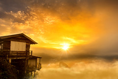 The Lettle House in sea of mist (keangs) Tags: mist yellow trees sky sunrise fog morning forest sunset mountains sun sunlight light clouds hope house thailand tree beautiful gold alone village mountain lonely misty cottage hut golden hour nikon