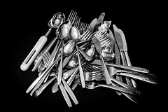 Can't have too much cutlery (Maggggie) Tags: cutlery silver stainless pile blackandwhite nik vignette odc shouldbeinadrawer