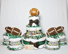 Football Baby Diaper Cake Shower Gift Centerpiece Boys Sports (2) (Dianna's Diaper Cakes) Tags: baby diaper cakes shower centerpieces gifts boys girls neutral diannas decoration