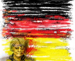 Angela Merkel flagged_bak (Chappy02) Tags: germany angelamerkel politics evil germanflag deutschland people burnedflag explosion