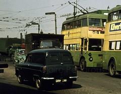 Victoria Square, Wolverhampton, 1962 (Lady Wulfrun) Tags: fordson thames 300e van victoriasquare 8th june 1962 trolleybuses wct corporation transport wolverhamptoncorporation wolverhampton 1960s revo soletern ford sidevalve 100e