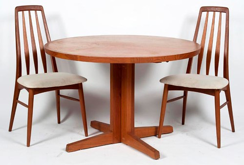 Danish Teak Extension Dining Table w/ Leaf & 4 Koefoeds Dining Chairs ($420.00)