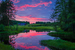 The colors of a sunset (PixPep) Tags: sunset brunsberg arvika vrmland sverige sweden lake river sky blue green clouds trees reflections pixpep