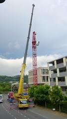 Baustelle in Wettingen 17.7.2016 1927 (orangevolvobusdriver4u) Tags: 2016 archiv2016 wettingen schweiz switzerland aargau baustelle construction kran crane grove