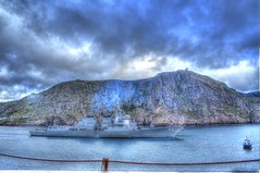 USS Bulkeley sails with Signal Hill in the background (Ross A Craig) Tags: stjohnsnewfoundland canadian navy united states hmcs fredericton athabaskan signal hill