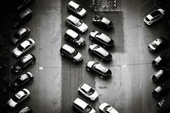 Cars (AxelN) Tags: deutschland fromabove parking germany carpark draufsicht sw parkplatz planview badenwrttemberg road schwarzweis stuttgart cars vonoben strase blackandwhite bw topview