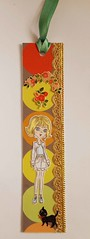 BM13 - Handmade bookmark (tengds) Tags: bookmark multicolored circles girl orange yellow green gold ribbon flowers cat blackcat papercraft handmade tengds