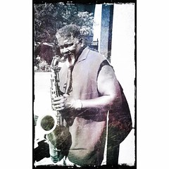 Sax man on Marshall Street. #iphoneart #iphoneography #streetphotography #streetmusic (SUNY-ESF) Tags: instagram sunyesf suny college environmental science forestry
