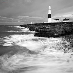 Portland Bill Lighthouse (lloydh.co.uk) Tags: sea lighthouse white storm black english weather portland mono coast bill rocks waves lee dorset filters jurassic channel extremeweather jurassiccoast portlandbilllighthouse isleofportland