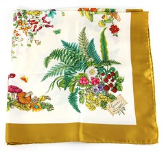 L24. Flora and Fauna Motif Printed Silk Scarf, Gucci