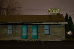 Motel (Photofidelity) Tags: longexposure nightphotography ny color abandoned night niagarafalls doors exploring motel olympus urbex meghanherald olympusomd