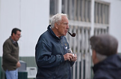 2012-11-07 (123) r4 fan with pipe (JLeeFleenor) Tags: people photography photos pipe fans smoker laurelpark pipesmoker laurelracecourse