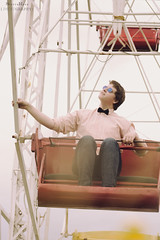 Bliss. (SierraRosePhotography) Tags: carnival boy red summer cute yellow shirt canon fun outdoors idea cool shiny ride bright artistic hipster young bowtie teen indie casual unusual conceptual quirky buttonup teenageboy