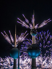 Kuwait fireworks celebrating the golden jubilee of its constitution #9 [November 10th, 2012] (loolykinns) Tags: golden fireworks jubilee towers kuwait constitution kuwaittowers goldenjubileeofconstitution