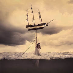 the tide that takes us (brookeshaden) Tags: ocean saved rescue storm water fairytale clouds boat flying ship surrealism floating rope drowning whimsical fineartphotography underwaterphotography conceptualphotography brookeshaden