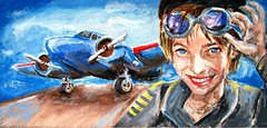 Meredith as Amelia Earhart (CrystalRobot) Tags: portrait art face painting acrylic drawing canvas painitng ameliaearhart lockheedmodel10electra jkpp juliakayportraitparty crystalrobot ameliamaryearhart
