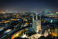 Southwark Cathedral by night (murphyz) Tags: city uk longexposure motion london wheel night train canon photography lights track cathedral capital housesofparliament londoneye urbanexploration southwark batterseapowerstation urbex londonist bps rooftopping murphyz