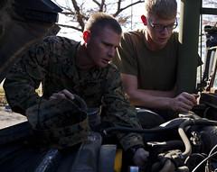 Marines prepare for convoy (Okinawa Marines) Tags: japan mountfuji campfuji iiimef treatyofmutualcooperationandsecurity artilleryrelocationtrainingprogram 312mikebtry lancecplkatelynhunter