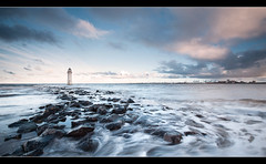Treacherous Tides (A-D-Jones) Tags: ocean new sea lighthouse seascape water rock liverpool landscape flow brighton waves smooth perch wallasey wirral merseyside