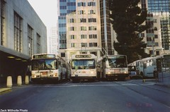 1978 Flyer E800 #5345 (busdude) Tags: sf bus coach flyer san francisco trolley railway terminal muni municipal trolleybus skoda e800 neoplan transbay 14trsf an460