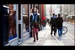 Soho (jonron239) Tags: reflection men london girl contraluz walking shadows soho bikes contrejour clocked