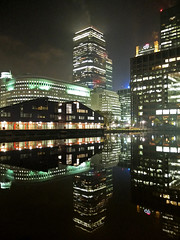 Canary Wharf at Night (Gerry Balding) Tags: england london water night buildings dock towers docklands canarywharf reflexions offices canadawater thebestofday gnneniyisi
