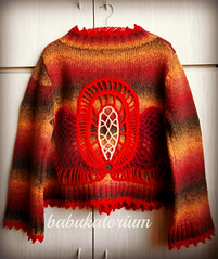 Red Lotus Crochet Upcycled Autumn Cardigan With Irish Lace Flower Applique (babukatorium) Tags: red orange brown flower color art wool fashion yellow vintage sweater colorful warm recycled handmade lace burgundy oneofakind coat crochet moda peach knit style shades used shade mohair button gradient hippie knitted applique remake embellished cardigan bohemian multicolor whimsical renew bolero haken hkeln croch ganchillo upcycled uncinetto handdecorated  irishlace tii horgolt babukatorium