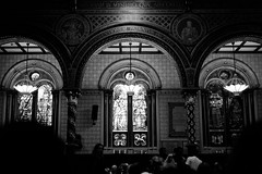 King's College Chapel, London (The_Kevster) Tags: leica windows light people blackandwhite bw music london church monochrome strand concert shadows gig jazz rangefinder chapel stainedglass event kingscollege lamps saxophone johncoltrane alovesupreme reimagining summicron50mm rowlandsutherland leicam9