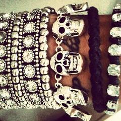 Skulls! (Federica Fabrello) Tags: black love me beautiful look fashion skull picture like style bracelets jewels