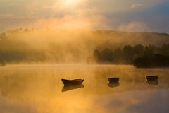 Seeing the Light of Day. (ericwyllie) Tags: trees colour clouds sunrise landscape boats outdoors dawn scotland eric background places backgrounds loch kilmacolm gloaming inverclyde 2011 knappsloch ericwyllie yahoo:yourpictures=light