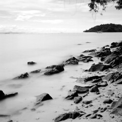 Manukan01 (sundewara, The Dark) Tags: sea bw seascape blur 6x6 waves hasselblad slowshutter sabah blackdiamond