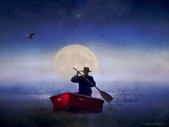 Blue Lagoon (h.koppdelaney) Tags: life blue wallpaper moon man art digital photoshop river boat poetry symbol magic picture philosophy full mind metaphor psyche symbolism psychology archetype mysticism koppdelaney
