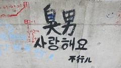 Enemy (MFinChina) Tags: china love wall graffiti student shanghai korean hate shanghaiist enemy jiaotonguniversity